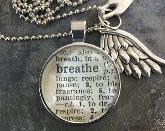 One Word Necklace with Charms- Breathe
