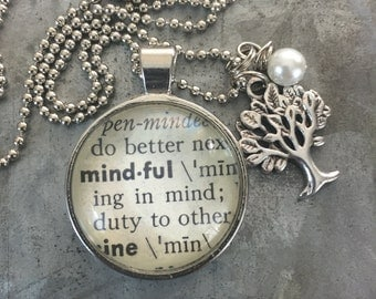 One Word Pendant with Tree Charm - Mindful