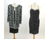 1980s beaded dress and jacket pearl dress silk dress Judith Creations cocktail dress black white Size S/M