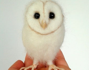 Ooak Artist Needle Felted Barn Owl Hatchling Chick