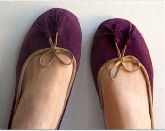 39 Sale COCO- Ballet Flats - Suede Shoes - 39 - Plum. Sale size 39 ONLY