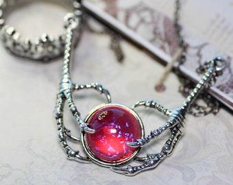 Dragons Breath Talon Necklace on Oxidized Sterling Silver Chain Art Nuevo