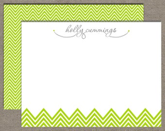 Notecards, Personalized Stationery, Sweet Chevron Lime, Professional, Set of 15 Custom Cards with Envelopes