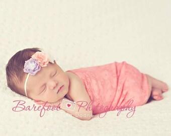 Newborn Headband Prop, Baby Girl Flower Headband, Peach Flower, Purple Flower, Newborn Girl Props, Skinny Baby Headband, Girl Photo Prop