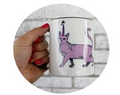 Caticorn Cat Mug, Coffee Cup, Sublimated by Hand, Cat with Unicorn Horn, Purple and White, 11oz Drink Container, Kitchen, Housewarming Gift