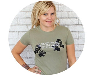 Rollerskate Tshirt with Willy Wonka Quote, Hand Printed Short Sleeved Roller Derby T Shirt, Quad Speed Skate Graphic Tee Shirt, Olive Green
