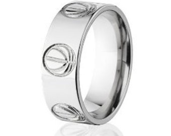 basketball ring basketball titanium band titanium wedding band : 8F-BBALLOUTLINE