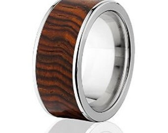 New Cocobolo Wood Rings, Exotic Hard Wood Wedding Band w/ Comfort Fit: 10F_Cocobolo Wood