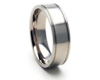 7mm Titanium Ring Comfort Fit Band- 7F2RS-P