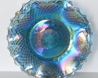Vintage Indiana Glass Diamond Blue Carnival Glass Hostess Plate