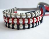 Sallie Ribbon Bracelet Trio. PATRIOTS. Lady Super Fan. Sports Fanatic. Football. Stocking Stuffer. Handmade Fashion Jewelry.