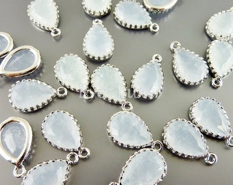 2 alice blue / pale blue 12mm crackle glass teardrop charms, glass beads 5049R-CALB-12 (bright silver, crakle alice blue, 12mm, 2 pieces)