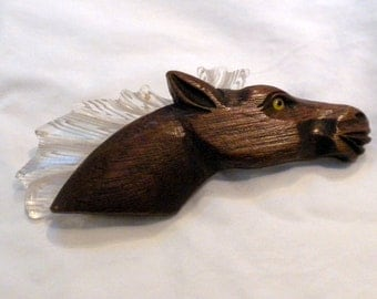 Lucite Wood Horse Brooch Lucite Mane Yellow Glass Eye