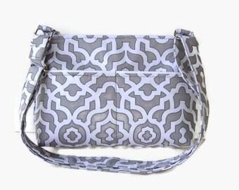 Gray and White Small Zippered Crossbody Purse - Gray Fabric Messenger Bag - Zippered Cross Body Bag - Adjustable Strap - Small Messenger Bag