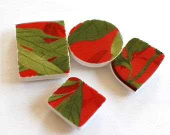 Broken China Magnet - Upcycled - Recycled Plate - Red and Green - Set of four