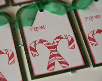 Candy Cane Christmas Gift Tags, Set of 6 Holiday Hang Tags in Red and Green (CGT1403)