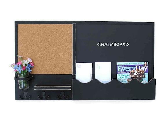 Mail organizer cork board chalkboard message center for Wall mail organizer with cork board