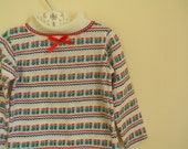 Vintage Girl's Turtleneck Shirt with Boy and Girl Novelty Print - Size 2T
