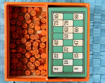 Vintage Lotto Game with Wooden Markers