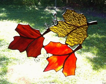 Floating Trio of Autumn Fall Leaves Stained Glass Suncatcher Can be hung different ways