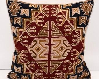 16x16 emroidery pillow cushion, sofa pillow, black, golden, burgundy, pink, pillow, cushion, hanmade wool embroidery