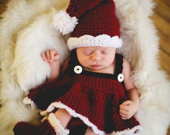 Christmas CROCHET PATTERN Santa Set Photography Prop BOTH Boy and Girl 5 sizes Newborn Baby to Toddler