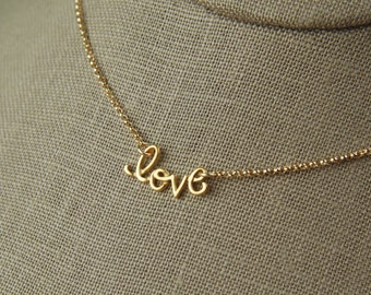 Gold cursive love charm and gold filled chain, slider, anniversary, love word, handwritten, love necklace, mother's day
