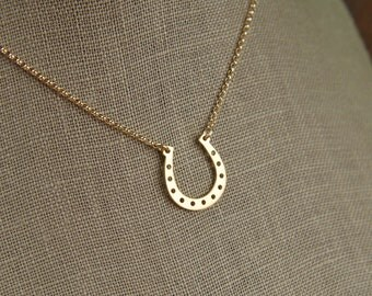 Gold horseshoe necklace, horseshoe pendant, gold filled, equestrian, western jewelry, horse pendant, good luck charm, gold vermeil