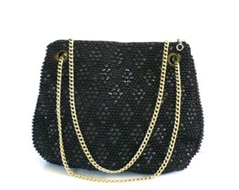 Vintage Black Beaded Purse // Made in Hong Kong by Walborg