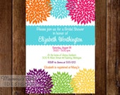 Rainbow Zinnia Blooms Bridal Shower Invitation - Modern Color Flowers - Flower Invite - Shower Invite - PRINTABLE INVITATION DESIGN