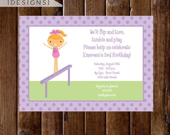 Gymnastics Birthday Invitation, Gymnastics Party Invitation, Gymnastics Invite, Gymnastics Theme, DIY, Printable Invitation