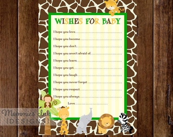 Jungle Safari Wishes for Baby Card, Baby Shower Printable, Baby Shower Insert, Advice Card, Baby Shower Wishes for Baby
