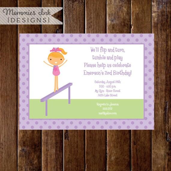 Gymnastics Birthday Invitation, Gymnastics Party Invitation, Gymnastics Invite, Gymnastics Theme, DIY, Printable Invitation
