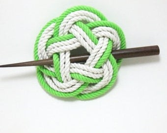 Sailor Knot Hair Stick Barrette in Bright Green and White