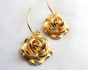 Gold Rose Earrings, Holiday gift for her, Gift under 15, Bridal Earrings, Bridesmaids Earrings, Stocking Stuffer, Thank you gift