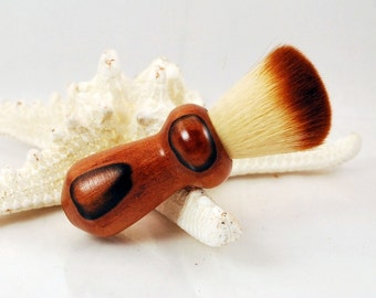 Cosmetic Makup Brush, Synthetic Two-Tone Hair, Handmade Jobillo Wood Handle, by ASH Woodshops Awesome Gift For Her