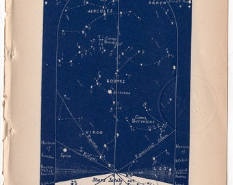 1891 august celestial print original antique astronomy sky chart lithograph - western map for august