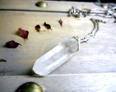 The Monolith Necklace. Large rough raw quartz crystal wand necklace. Stone Temples collection by Chymiera