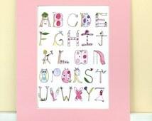 Watercolor Alphabet, Print with Mat, Nursery Wall Decor, Princess, Owl, Balloon, Tree, Giraffe, Butterfly, Flower, Ballet Shoes,
