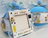 My First Christmas 1st Christmas Baby's First Christmas Baby Boy Blue Personalized Christmas Ornament  Photo Picture Frame Bauble 1st Xmas