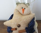 Primitive Snowman Ornament with Star
