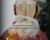 Handmade Primitive Santa with Candle