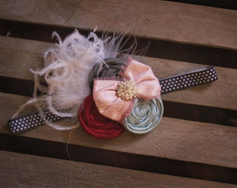 M2M Matilda Jane Hello Lovely Saturday Afternoon Shabby Flower Headband with lace silk pearls and feathers A183