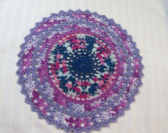 Shades of Lavender Doily-10 inch Doily-Navy and Pink Varigated Color Doily-Hand Crocheted Egyptian Cotton Doily-Cindy's Loft