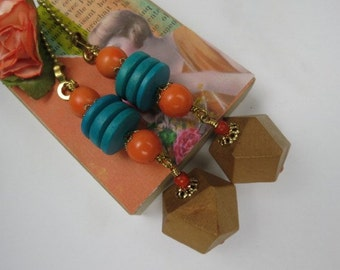 Deocrative Chain Pull Pair with Wooden Bead, Turquoise Wood Discs and Bright Orange Accents