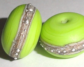 Silvered Bright Pea.. Two Handmade Lampwork Glass Beads lime green silver beach sea glass sterling summer Beatlebaby