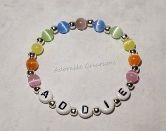 Pastel Rainbow Cats Eye Name Bracelet