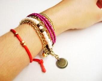 Boho style stacking bracelet - Grape sugar - grape dark purple cream ivory multiple golden chain stacking boho bracelet