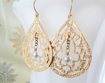 Gold Teardrop Earrings Bridal Pearl Taj Mahal