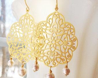 Gold Filigree Earrings Pearls Alhambra Fairytale by MinouBazaar